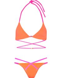 L'Agent by Agent Provocateur - Eleena Two-tone Triangle Bikini - Lyst