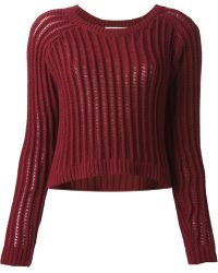 Elizabeth And James Cropped Ribbed Knit Jumper - Lyst