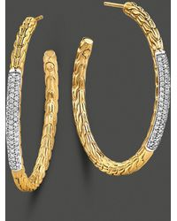 John Hardy Womens Classic Chain 18k Yellow Gold and Diamond Pave Medium Hoop Earrings - Lyst