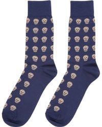 Alexander McQueen Blue And Ivory Skull Socks blue - Lyst