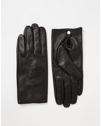 Pieces - Leather Gloves - Lyst