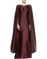 Zac Posen Pleated Convertible Cape Gown - Lyst