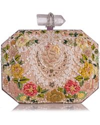 Marchesa - Iris Floral Embroidered Box Clutch Bag Multi - Lyst
