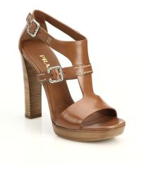 Prada Leather Stacked-Heel Sandals - Lyst