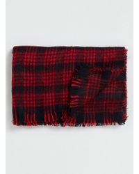 LAC - Red And Bk Blanket Scarf - Lyst