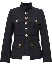 Marc Jacobs Blue Wool Melange Military Jacket - Lyst
