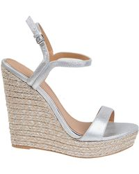 Badgley Mischka Kleo Metallic Suede Wedge Sandals - Lyst