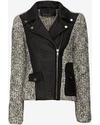 Yigal Azrouel Platinum Knitleather Moto Jacket - Lyst