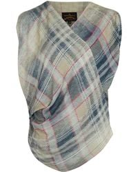 Vivienne Westwood Anglomania Grey Tartan Print Element Top - Lyst