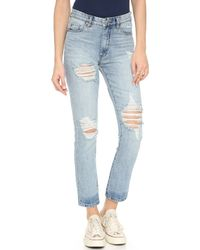 Blank - Slim Straight Distressed Jeans - Lyst