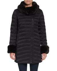 French connection Fauxfurtrimmed Puffer Coat - Lyst