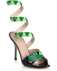 Moschino Cheap & Chic Snake Wrap-Around Patent Leather Sandals - Lyst