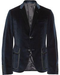 Gucci Dylan Slim-fit Leather-trimmed Velvet Blazer - Lyst
