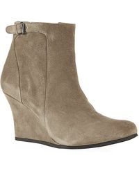 Lanvin Abu Suede Wedge Ankle Boot - Lyst