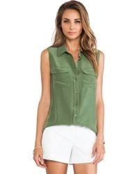 Equipment Sleeveless Slim Signature Blouse - Lyst