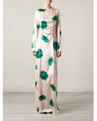 Nina Ricci Flower Printed Long Sleeve Fitted Long Dress - Lyst