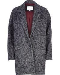 River Island Grey Tweed Oversized Coat - Lyst