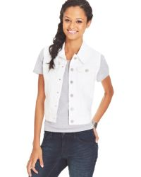 Levi's Juniors White Denim Trucker Vest - Lyst