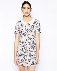 AX Paris Shift Dress With Collar In Rose Print - Lyst