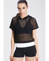Forever 21 Mesh Pullover Hoodie - Lyst
