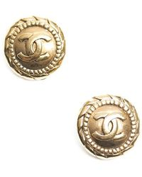 Chanel Pre Owned Gold Cc Button Clip On Earrings - Lyst