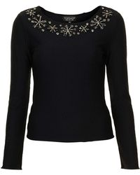 Topshop Textured Embelished Top - Lyst