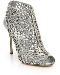 Sergio Rossi | Tresor Crystal-embellished Silk Caged Sandals | Lyst