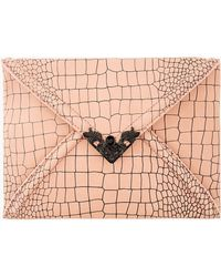 McQ by Alexander McQueen Rose Croc Etched Leather Envelope Clutch - Lyst