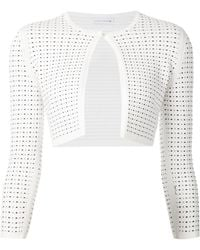 Narciso Rodriguez Perforated Cropped Cardigan - Lyst
