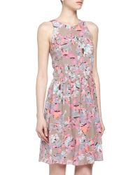 Rebecca Taylor Floral Print Fit-and-flare Dress - Lyst