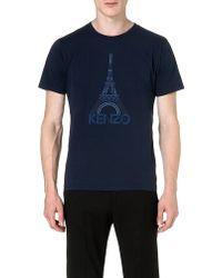 Kenzo Eiffel Tower Cotton Tshirt Blue - Lyst