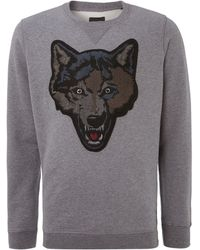 Diesel Wolf Head Applique Sweatshirt - Lyst