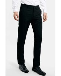 Topman Black Skinny Fit Trousers - Lyst