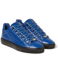 Balenciaga Arena Creased-Leather Sneakers - Lyst