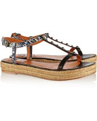 Lanvin Embellished Snake-Effect Leather Sandals - Lyst