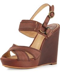 Frye Alexa Crisscross Leather Wedge - Lyst