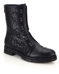 Jimmy Choo Hatcher Perforated Leopard Leather Boots black - Lyst