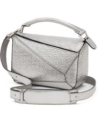Loewe | Small Metallic Embossed Leather Puzzle Shoulder Bag | Lyst