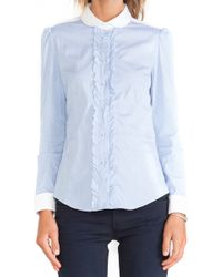 RED Valentino Ruffle Button Down Shirt - Lyst