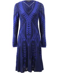 Roberto Cavalli Printed Fit and Flare Dress - Lyst