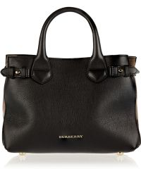 Burberry Small Leather and Checked Canvas Tote - Lyst