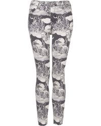 Topshop Moto Wolf Print Leigh Jeans - Lyst