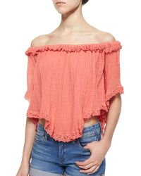 Golden by JPB - Tie-dye Lace-trim Voile Top - Lyst