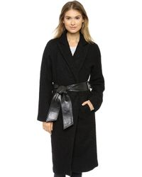 Smythe Wrap Coat  Black - Lyst