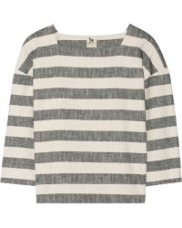 La't By L'agence Woven Striped Cotton-Blend Top - Lyst