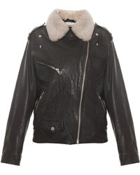 Etoile Isabel Marant Benny Leather Jacket With Shearling Collar - Lyst