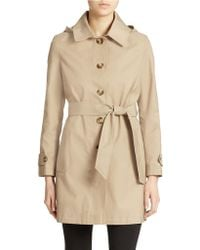 DKNY Single Breasted Hooded Trench Coat - Lyst