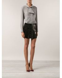 Anthony Vaccarello Embroidered Mini Skirt - Lyst