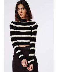 Missguided Striped High Neck Crop Sweater Black/Cream - Lyst