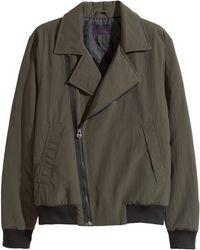 H&M Green Biker Jacket - Lyst